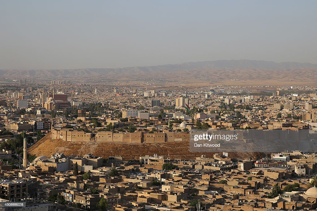 A general view over the city of Erbil and the ancient Citadel on June 15 2014 in Erbil Iraq The Citadel is thought to be the oldest continuously...