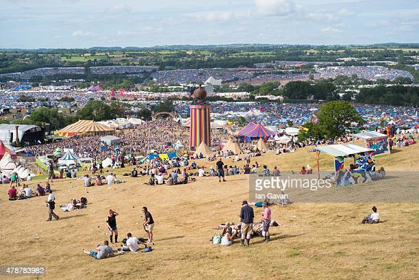 General view over the Glastonbury Festival at Worthy Farm Pilton on June 27 2015 in Glastonbury England Now its 45th year the festival is one largest...