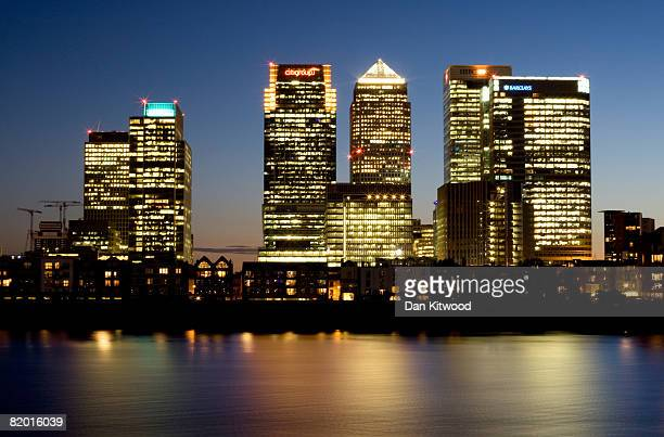 A general view over the River Thames at Canary Wharf in the Docklands on July 4 2008 in London England