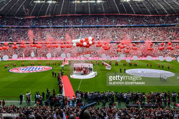 A general view over the stadium after the German first division Bundesliga football match FC Bayern Munich vs SC Freiburg in the southern German city...