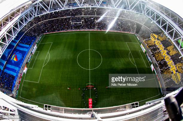 General view over the stadium with tifo from both teams supporters before the Allsvenskan match between Djurgardens IF and AIK at Tele2 Arena on May...