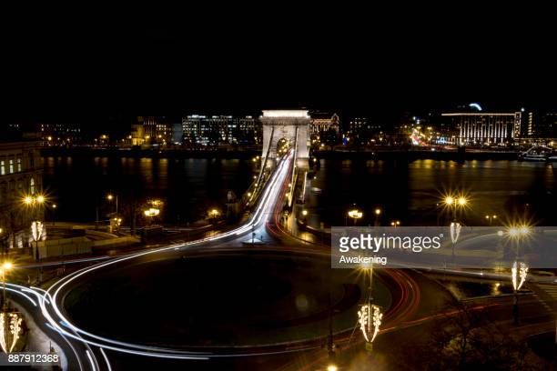 A general view over the Szechenyi Chain Bridge on December 7 2017 in Budapest Hungary The traditional Christmas market and lights will stay until...