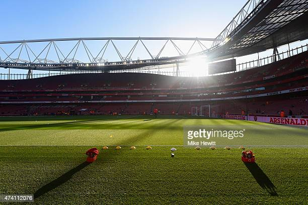 A general view pitchside ahead of the Barclays Premier League match between Arsenal and Sunderland at Emirates Stadium on May 20 2015 in London...