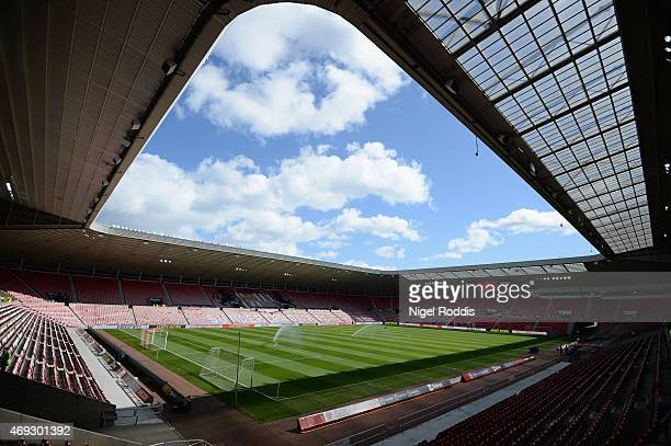 A general view pitchside prior to the Barclays Premier League match between Sunderland and Crystal Palace at Stadium of Light on April 11 2015 in...