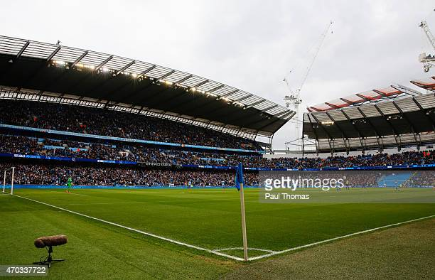 A general view pitchside prior to the Barclays Premier League match between Manchester City and West Ham United at Etihad Stadium on April 19 2015 in...