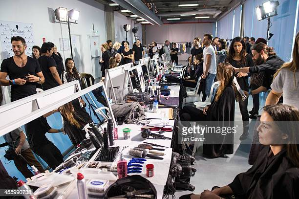 A general view prior the Jacquemus show as part of the Paris Fashion Week Womenswear Spring/Summer 2015 on September 23 2014 in Paris France