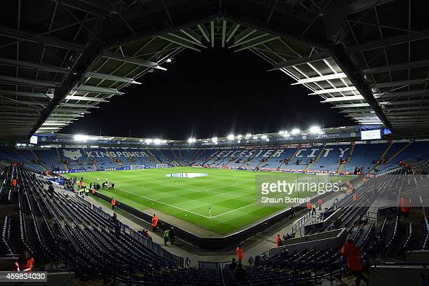 A general view prior to kickoff during the Barclays Premier League match between Leicester City and Liverpool at The King Power Stadium on December 2...