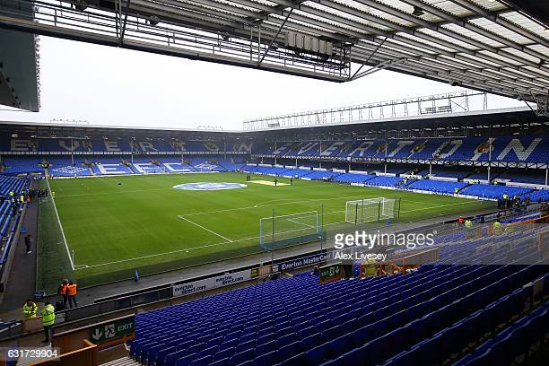 A general view prior to kickoff during the Premier League match between Everton and Manchester City at Goodison Park on January 15 2017 in Liverpool...