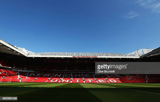 A general view prior to the Barclays Premier League match between Manchester United and Tottenham Hotspur at Old Trafford on August 8 2015 in...