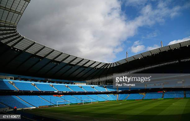 General View prior to the Barclays Premier League match between Manchester City and Stoke City at the Etihad Stadium on February 22 2014 in...