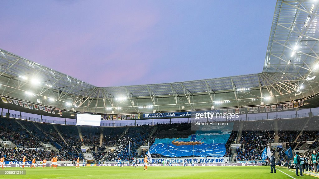 A general view prior to the Bundesliga match between 1899 Hoffenheim and SV Darmstadt 98 at Wirsol Rhein-Neckar-Arena on February 7, 2016 in Sinsheim, Germany.