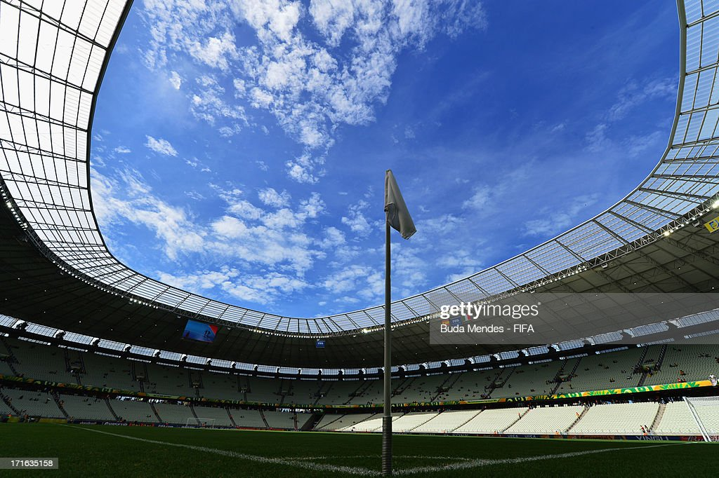 A general view prior to the FIFA Confederations Cup Brazil 2013 Semi Final match between Spain and Italy at Castelao on June 27, 2013 in Fortaleza, Brazil.