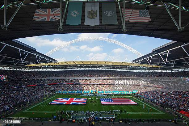 A general view prior to the game between Miami Dolphins and New York Jets at Wembley Stadium on October 4 2015 in London England