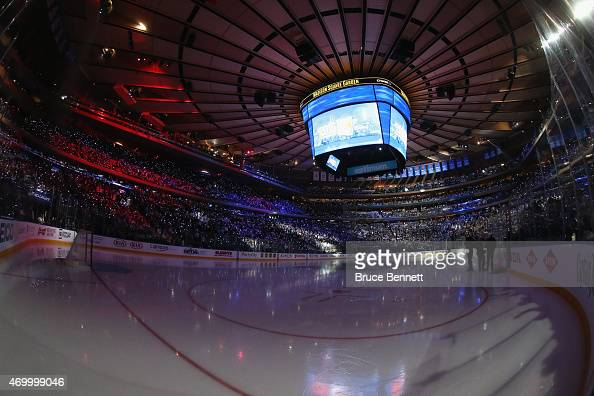 A general view prior to the game between the New York Rangers and the Pittsburgh Penguins in Game One of the Eastern Conference Quarterfinals during...