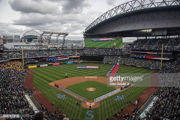 A general view prior to the home opener between the Seattle Mariners against the Los Angeles Angels of Anaheim at Safeco Field on April 6 2015 in...