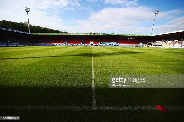 A general view prior to the Second Bundesliga match between 1 FC Heidenheim and 1 FC Kaiserslautern at VoithArena on August 28 2015 in Heidenheim...