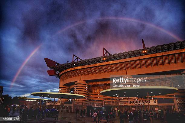 A general view prior to the Serie A match between FC Internazionale Milano and Hellas Verona FC at Stadio Giuseppe Meazza on September 23 2015 in...
