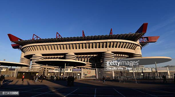 General view prior to the Serie A match between FC Internazionale Milano and UC Sampdoria at Stadio Giuseppe Meazza on February 20 2016 in Milan Italy