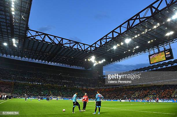 A general view prior to the Serie A match between FC Internazionale Milano and SSC Napoli at Stadio Giuseppe Meazza on April 16 2016 in Milan Italy