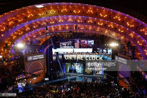 A general view prior to the start of the first round of the 2015 NFL Draft at the Auditorium Theatre of Roosevelt University on April 30 2015 in...