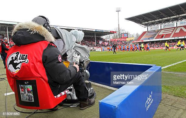A general view prior to the third league match between FC Energie Cottbus and 1FC Magdeburg at Stadion der Freundschaft on March 12 2016 in Cottbus...