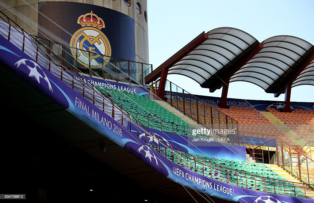 A general view prior to the UEFA Champions League Final between Real Madrid and Atletico Madrid at Stadio Giuseppe Meazza on May 27, 2016 in Milan, Italy.