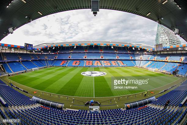 A general view prior to the UEFA Champions League qualifying round play off first leg match between FC Basel and Maccabi Tel Aviv at St JakobPark on...