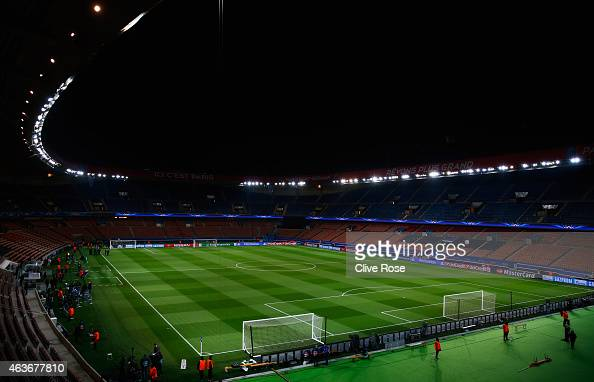 A general view prior to the UEFA Champions League Round of 16 match between Paris SaintGermain and Chelsea at Parc des Princes on February 17 2015 in...