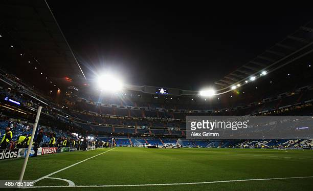 A general view prior to the UEFA Champions League Round of 16 second leg match between Real Madrid CF and FC Schalke 04 at Estadio Bernabeu on March...
