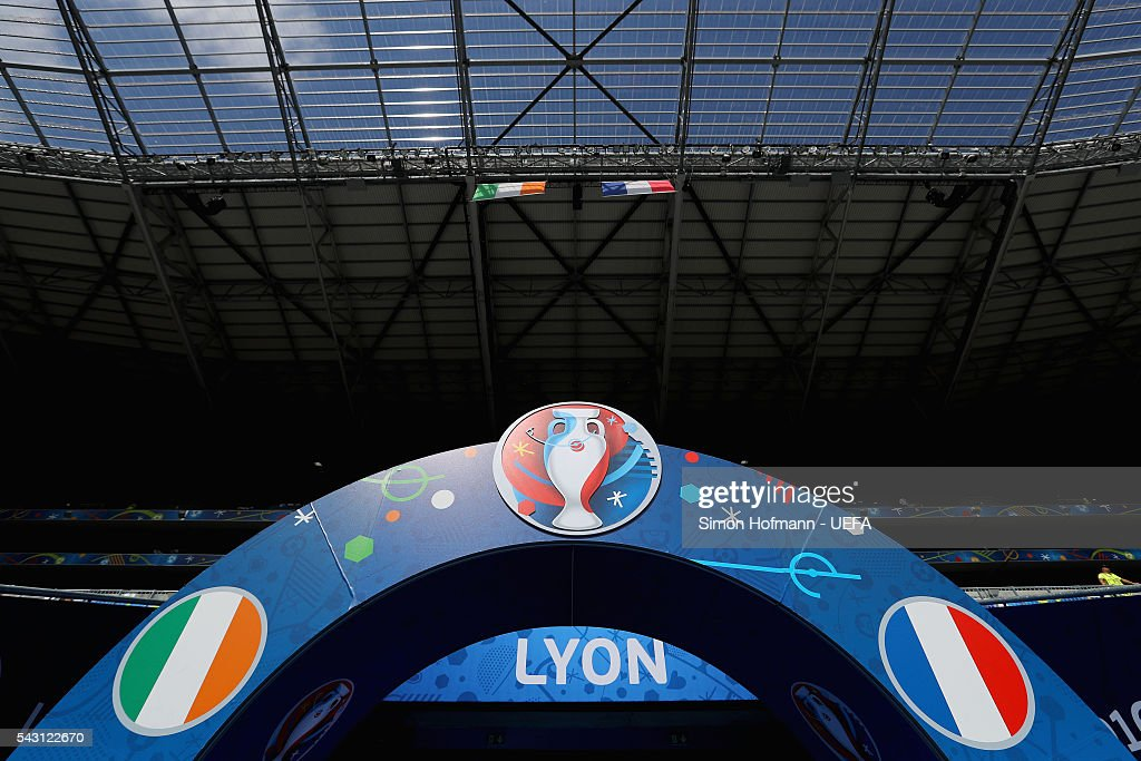 A general view prior to the UEFA EURO 2016 round of 16 match between France and Republic of Ireland at Stade des Lumieres on June 26, 2016 in Lyon, France.