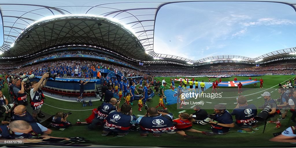 A general view prior to the UEFA EURO 2016 round of 16 match between England and Iceland at Allianz Riviera Stadium on June 27, 2016 in Nice, France.