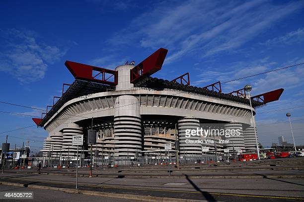 A general view prior to the UEFA Europa League Round of 32 match between FC Internazionale Milano and Celtic FC at Stadio Giuseppe Meazza on February...
