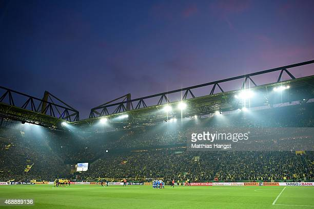 General view priot to the DFB Cup Quarter Final match between Borussia Dortmund and 1899 Hoffenheim at Signal Iduna Park on April 7 2015 in Dortmund...