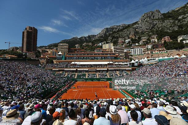 General view shot as Andy Murray of Great Britain serves on Court Rainier III during his semifinal match against Rafael Nadal of Spain during the...