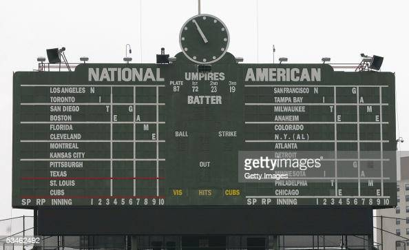 General view shot of the centerfield out of town scoreboard at the Chicago Cubs home field of Wrigley Field in Chicago Illinois on June 15 2004