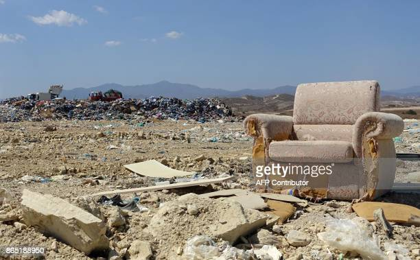 A general view show rubbish at the Kotsiatis landfill on the outskirts of the Cypriot capital Nicosia on August 28 2017 With more visitors heading to...