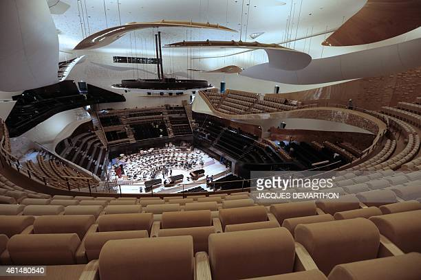 A general view show the interior of the new Philharmonie de Paris in Paris on January 13 2015 The Philharmonie de Paris opens on January 14 in the...