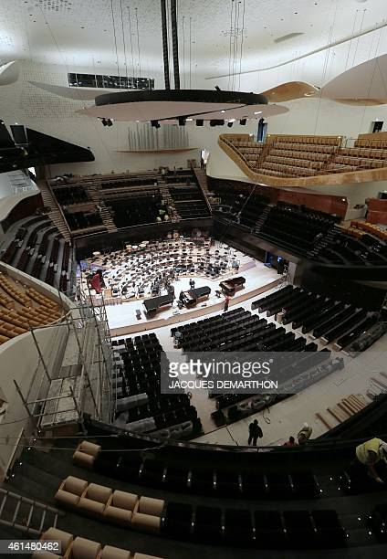 A general view show the interior of the new Philharmonie de Paris on January 13 2015 The Philharmonie de Paris opens on January 14 in the northeast...