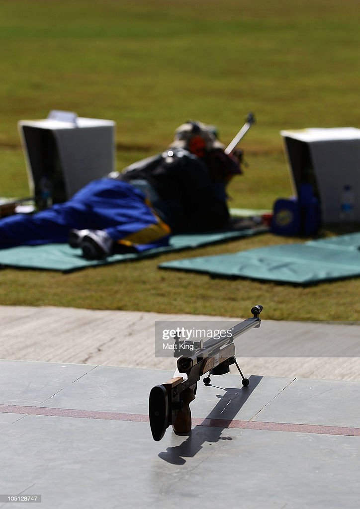 A general view showing a spare gun during the 500 yards Pairs Full Bore Open at the CRPF Campus, Kadarpur during day seven of the Delhi 2010 Commonwealth Games on October 10, 2010 in Gurgaon, India.