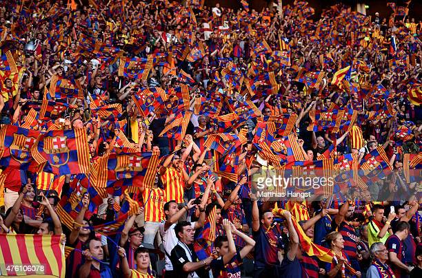 A general view showing Barcelona fans prior to the UEFA Champions League Final between Juventus and FC Barcelona at Olympiastadion on June 6 2015 in...