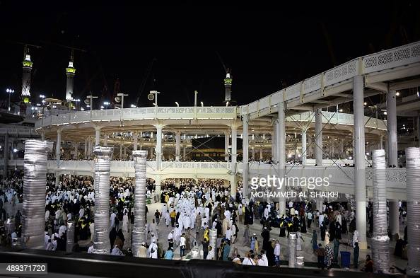 A general view showing construction around the Islam's holiest shrine the Kaaba at the Grand Mosque in the Saudi holy city of Mecca late on September...