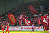 A general view showing Liverpool fans at the Kop end during the Barclays Premier League match between Liverpool and Manchester United at Anfield on...