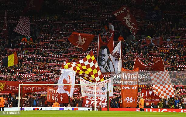 A general view showing Liverpool fans flying flags and banners during the UEFA Europa League quarter final second leg match between Liverpool and...