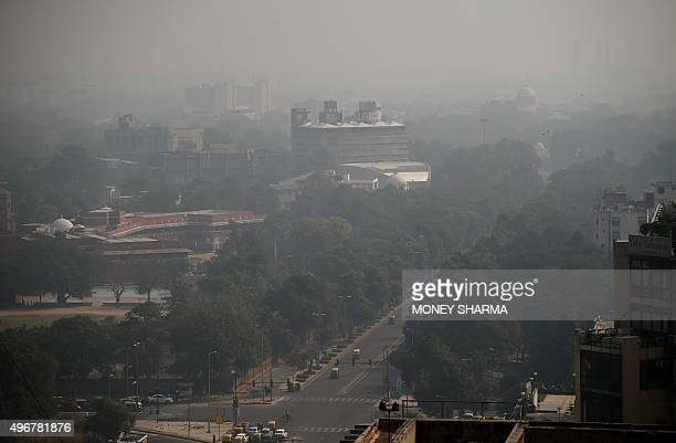 A general view showing smog enveloping New Delhi after the Diwali festival which is notorious for heralding smoky air as thousands of firecrackers...