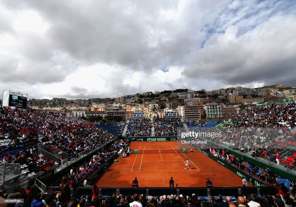 A general view showing storm clouds as James Ward of Great Britain plays against Fabio Fognini of Italy during day one of the Davis Cup World Group Quarter Final match between Italy and Great Britain at Tennis Club Napoli on April 4, 2014 in Naples, Italy.
