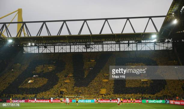 A general view showing the Dortmund fans during the UEFA Champions League Quarter Final first leg match between Borussia Dortmund and AS Monaco at...