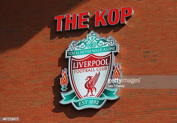 A general view showing the Liverpool club badge at The Kop end prior to the Barclays Premier League match between Liverpool and Manchester United at...
