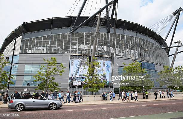 A general view showing the new south stand prior to the Barclays Premier League match between Manchester City and Chelsea at the Etihad Stadium on...