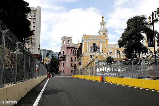 A general view showing the Philharmonic Concert building from the circuit during previews ahead of the European Formula One Grand Prix at Baku City...