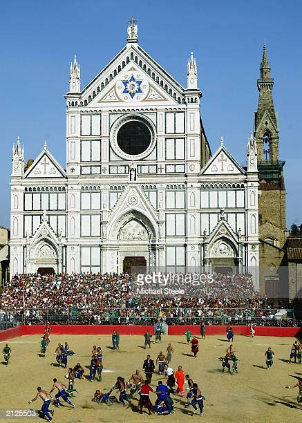 A general view showing the Santa Croce Duomo during the Calcio Storico a medieval football rules event held between four quarters of Florence since...